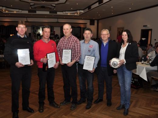 Johannes Klune, Friedhelm Schulte, Karl Ratte & Josef Schulte mit silberner Ehrennadel des NFV